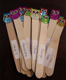 pick sticks with owl stickers for who to call on or for partnering