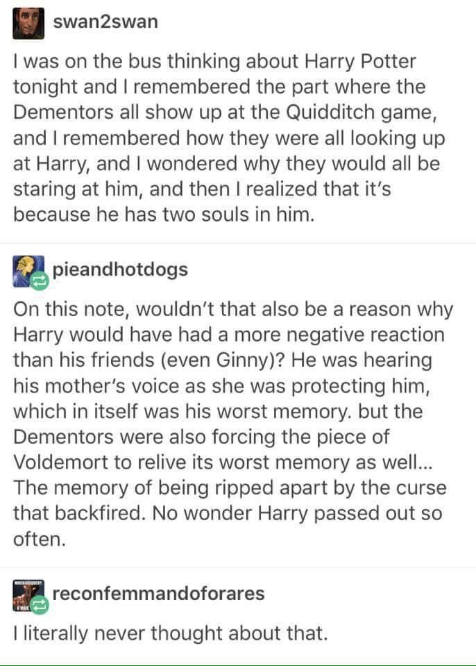 WHAT IF THE DEMENTORS WEREN'T EVIL AND WE'RE JUST TRYING TO SUCK OUT THE PIECE OF VOLDEMORT'S SOUL THAT WAS IN HIM????