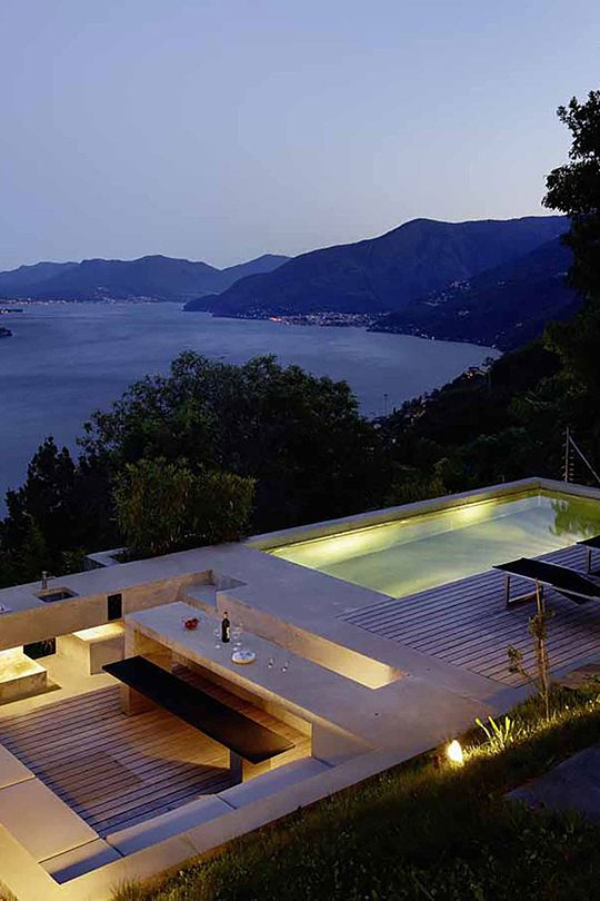 pool and terrace with ocean view