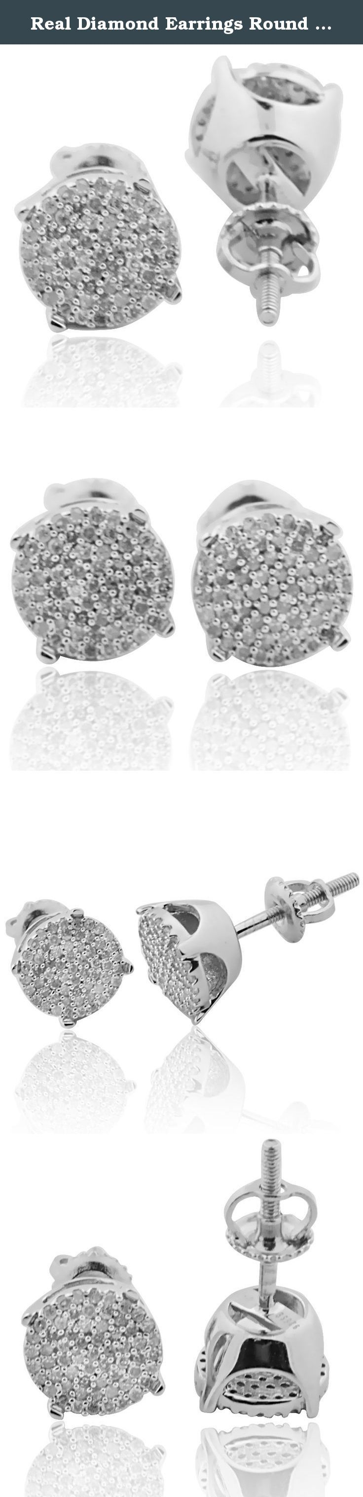 Real Diamond Earrings Round Cluster 8mm 0.35ctw Pave Set White Gold-Tone Silver(i2/i3, I/j). Real Diamond Earrings Round Cluster 8mm 0.35ctw Pave Set White Gold-Tone Silver(i2/i3, I/j) Item Type: Diamond Pendant / Charm Metal Type: 925 Sterling-silver Gem Type: White-diamond For Men round cluster earrings for men or women in pave setting Screw back diamond earrings 8mm wide round Beautiful gift box is included 90 Days warranty and 30 days no hassle returns Ships within 24 hours with…