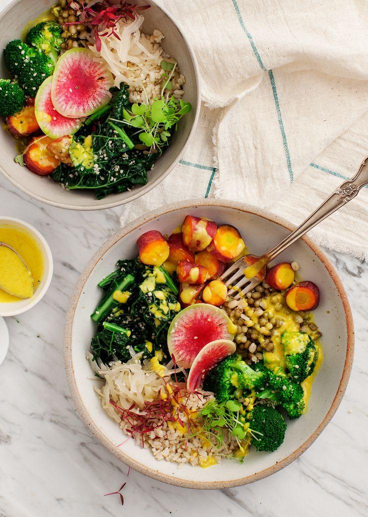 Macro Bowls with Turmeric Tahini Sauce | radish mung beans carrots broccoli kale brown rice sauerkraut