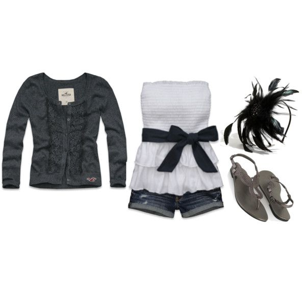 So cute!: Dreams Closet, Shorts Outfits, Cute Outfits, Closet Please3, Feathers Things, Black White, Polyvore Outfits, Cute Summer Outfits, Summertime Outfits