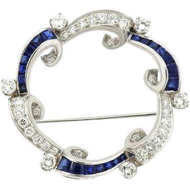Stunning Art Deco 1920 1940s 1.4ct Diamond and Sapphire Pin Brooch Pendant set in Platinum