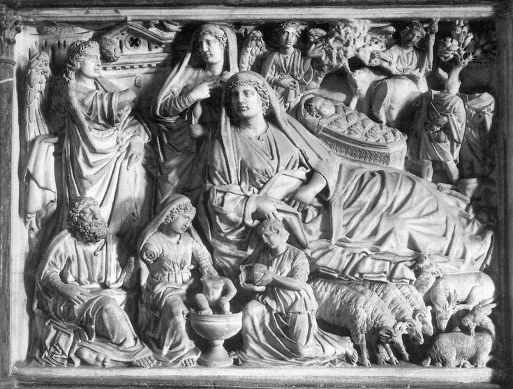 Nicola Pisano, Annunciation, Nativity & Adoration of the shepherds, 1260, marble bas-relief, Pisa baptistry pulpit.