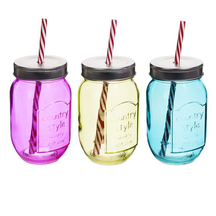 verres en forme de bocaux avec paille dans le couvercle by. Black Bedroom Furniture Sets. Home Design Ideas