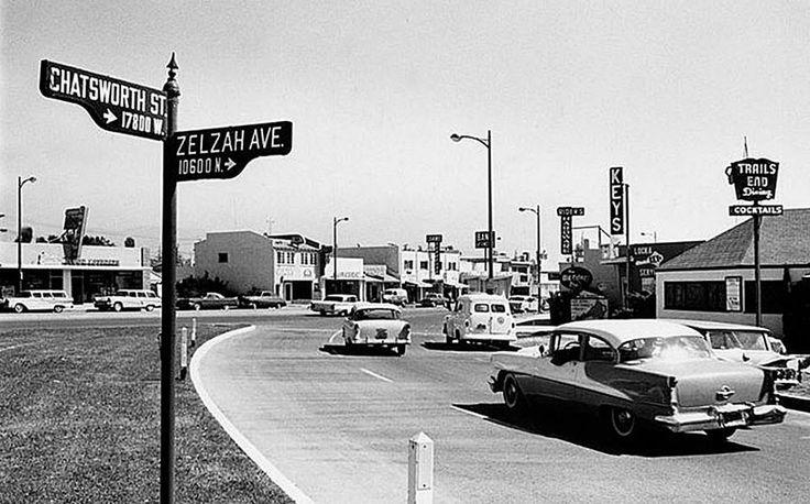 San Fernando Valley. Granada Hills/Northridge area at the corner of Chatsworth and Zelzah. From the cars, I'd say around 1957-58...
