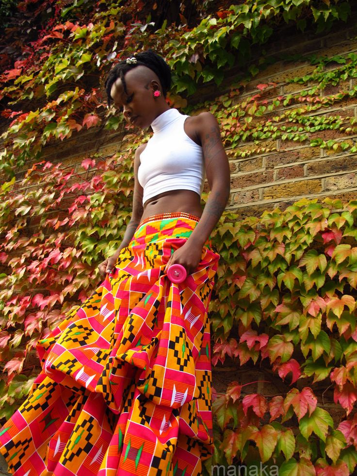 Reserved - Beautiful Bloom - One of a kind African Kente Bohemian ruched skirt. £60.00, via Etsy.