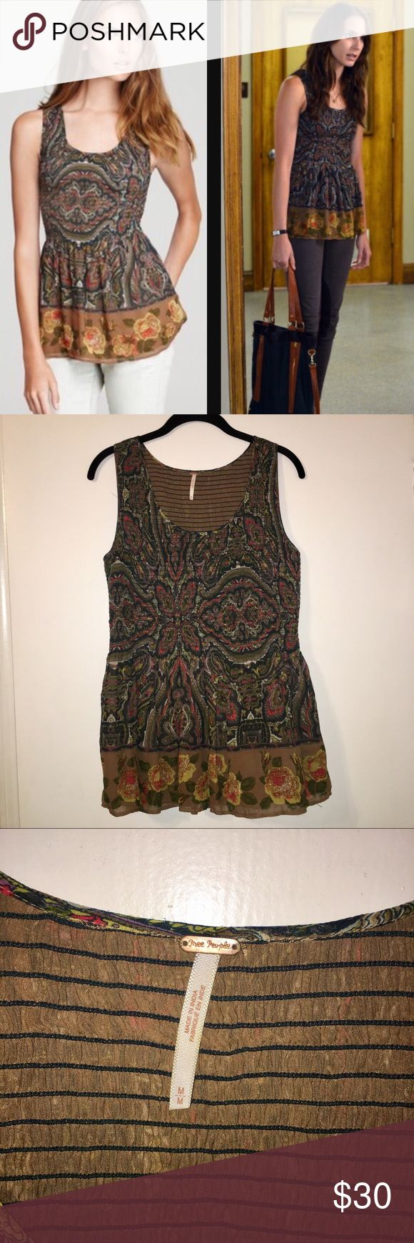 ASO PLL Free People Smocked Tank As seen on Spencer Hastings in Pretty Little Liars! Free people smocked tank top in paisley print. Great used condition! A reposh because it just didn't look good on me. Size medium, and the top has a lot of stretch so it can fit larger boobs. Flaws - a few minor snags and a couple of small holes in the lining (not visible when worn). Make an offer! Bundles are 30% off 2+ items! Free People Tops Tank Tops