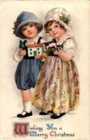 Christmas Children Vintage Cards for Xmas and Holidays, Vintage Children - Children - Vintages Cards - children, vintage, xmas, christmas, holidays, free, clipart,
