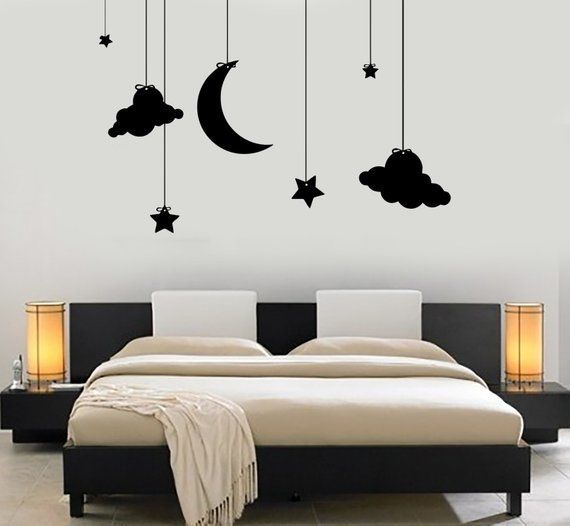 Wall Vinyl Decal Romantic Bedroom Moon Stars Cloud Night Kids