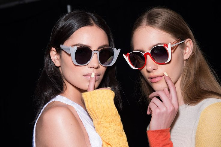 Prabal Gurung SS16 backstage nailart white nails sunglasses pretty girls model beauty