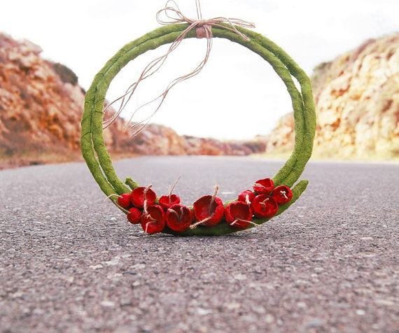 Spring Wreath Red and Green Flower Wreath Paper Mache by irineART