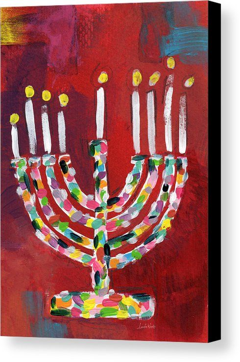 Menorah Canvas Print featuring the painting Colorful Menorah- Art By Linda Woods by Linda Woods
