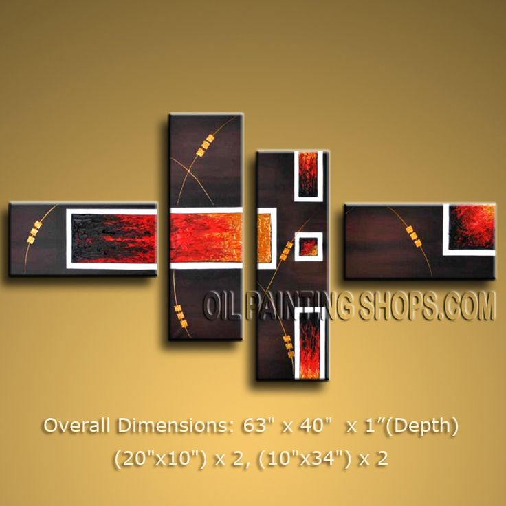 Hand Painted Tetraptych Modern Abstract Painting Wall Art Artwork Pictures. In Stock $145 from OilPaintingShops.com @Bo Yi Gallery/ ops2543