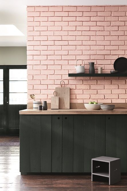 De verfkleuren Confetti 274, Lamp Black 228 & Salix 99 van LITTLE GREENE. www.littlegreene.nl. roze | verf | muurverf | muurdecoratie | interieur | design | interieurdesign | styling | wooninspiratie | wonen | keuken | living | home