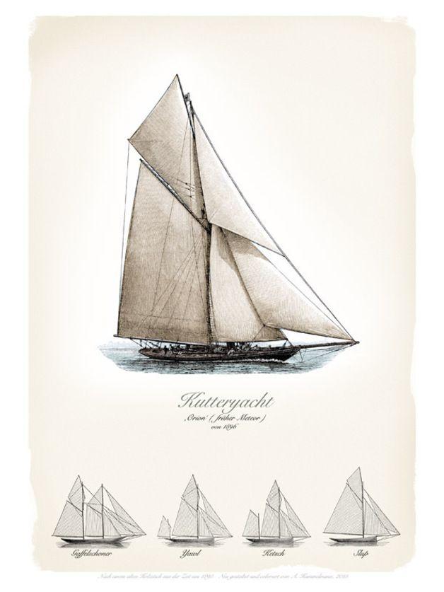 Vintage Poste rmit Yachten, Segelbooten, Geschenk für Ihn, maritim / maritime vintage poster, gift idea for him by ART11 via DaWanda.com