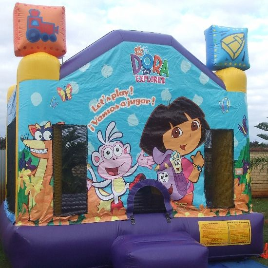 Hire the Dora the Explorer bouncy castle from only $180 for a 4 hour period or if you require a little longer then why not upgrade to a 7 hour hire for only an extra $40. We deliver to all suburbs within a 35Km radius of Port Kennedy.  #dora #standard #bouncy #inflatable #play #toys #kids