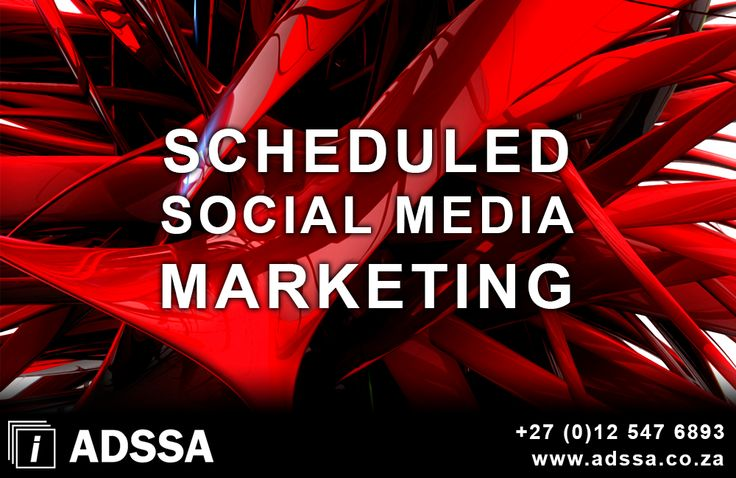Scheduled Social Media Marketing     Scheduled Social Media Marketing Save time with automated posting to you favorite social media profiles   Schedule your posts in advance for a specific date and time   Be present by consistent regular postings   Enlarge your online exposure   Create brand awareness online     http://adssa.co.za/scheduled-social-media-marketing-3/