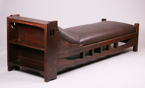 """Shop of the Crafters daybed with bookshelf side and s-shaped cutouts.  Signed with paper label.  Excellent original finish.  83"""" x 29""""h x 26.5""""d 