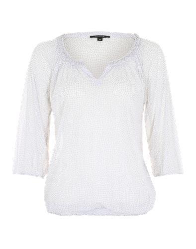 comma, zeigt diese leichte Bluse aus zartem Chiffon und mit einem wundervoll geschlitzten Rundhalsausschnitt. 3/4-lange Ärmel und ein Gummibündchen im Saumabschluss machen den gelungenen Look perfekt.