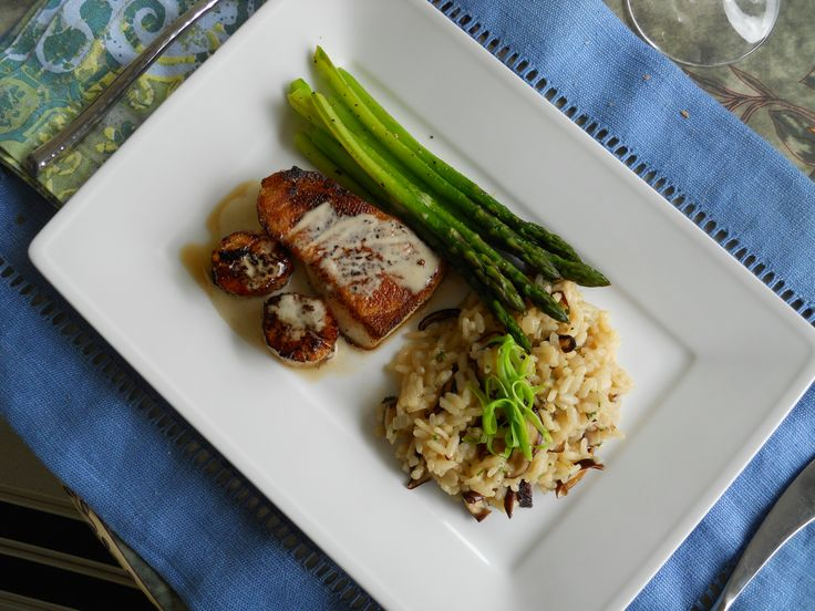 Chilean sea bass and wild scallops with Meyer lemon shiitake risotto and asparagus. This would be gluten free if something is subbed for the flour to make the roux/sauce. Would be great for a New Year's Eve meal.