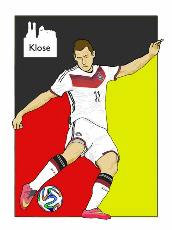 This listing is for a 16 x 12 print of my Miroslav Klose Germany artwork. Printed on a quality matt photo paper, this is perfect for framing.