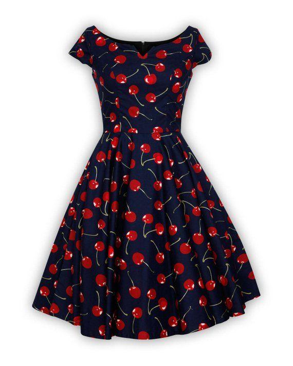 f1dd9003a0b Cherry Dress Retro Dress Holiday Dress Festive Dress Navy Vintage Dress V  Neck Dress Pin Up Dress Swing Dress Dress 50s Dress  SwingDress   CherryDress ...