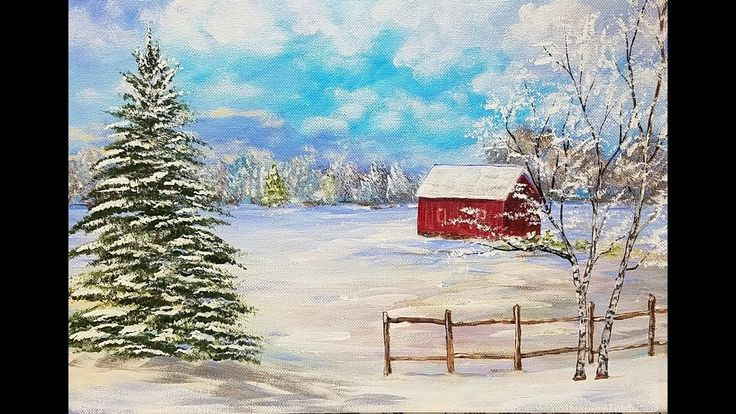 Snowy Winter Landscape with Red Barn Acrylic Painting Tutorial for Begin...