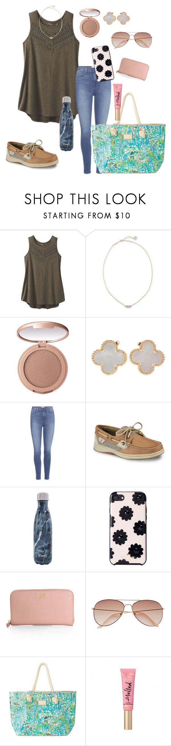 """Happy international women's day!!!"" by zoejm ❤ liked on Polyvore featuring prAna, Kendra Scott, tarte, Van Cleef & Arpels, Paige Denim, Sperry, S'well, Kate Spade, Prada and H&M"
