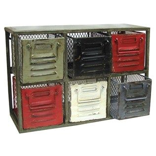 Organize odds and ends in this colorful metal cabinet with six drawers.   Shop Hobby Lobby