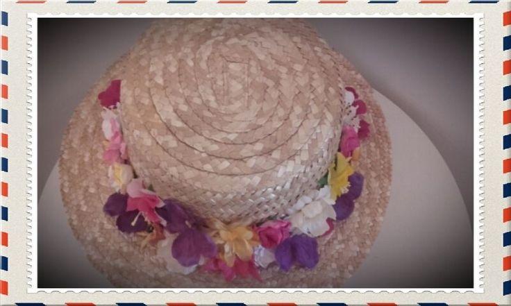 VALENTINO icon of Canotier Hat Head Dress jumpsuit Celebrities Runway Flowers #Handmade #PartySummerEveryDayGoodLookWedding