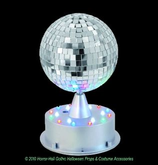 Make it a party wherever you go, with this portable Mirror Ball! Multi function party ball has red, green, blue, and white LED lights on the base for jam-packed disco action! Also includes two functions so your party never gets boring! http://horror-hall.com/Animated-DISCO-MIRROR-BALL-LED-LIGHT-BASE-Party-Prop-Decoration-HH-VA-A010.htm