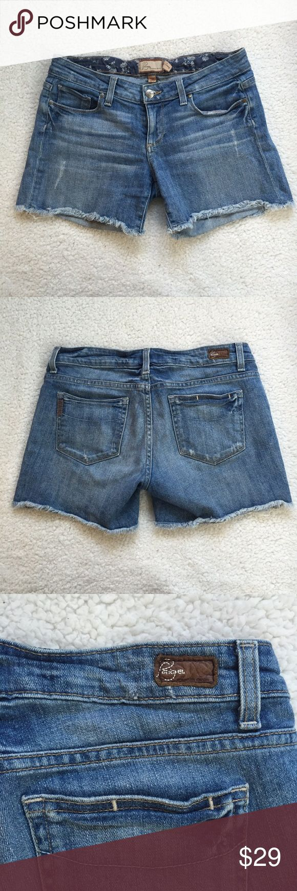 """Paige Jimmy Jimmy Shorts Paige Jimmy Jimmy shorts with frayed hem and distress look both front and back. Inseam is 4"""". I feel like they run big or maybe they are meant to fit looser. Paige Jeans Shorts Jean Shorts"""