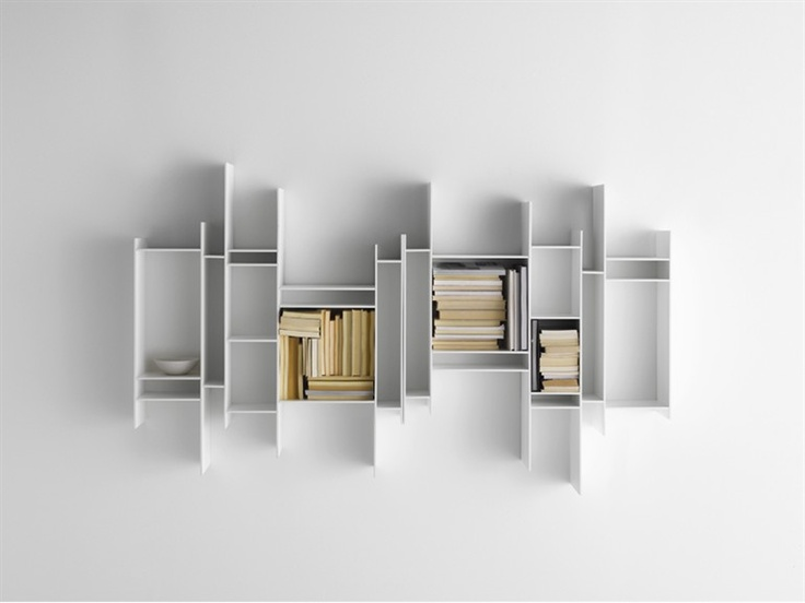 Open Wall-Mounted MDF Bookcase RANDOMITO by MDF Italia | Design Neuland Industriedesign