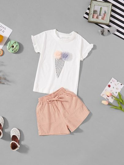 7d424059272c Girls Stereo Flowers Tee With Shorts  fall  fashion  trends  styles  shein   kidsfashion  kidscloths  kidsgirlcloths kids clothes for girls