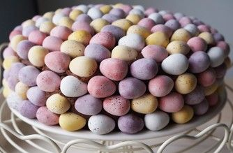 Mini Egg cake  Nothing says 'Happy Easter' more than a chocolate cake covered head to toe in Mini Eggs. This mouth-watering Mini Egg cake is just that, with crushed Mini Eggs in the filling and a rich Nutella spread