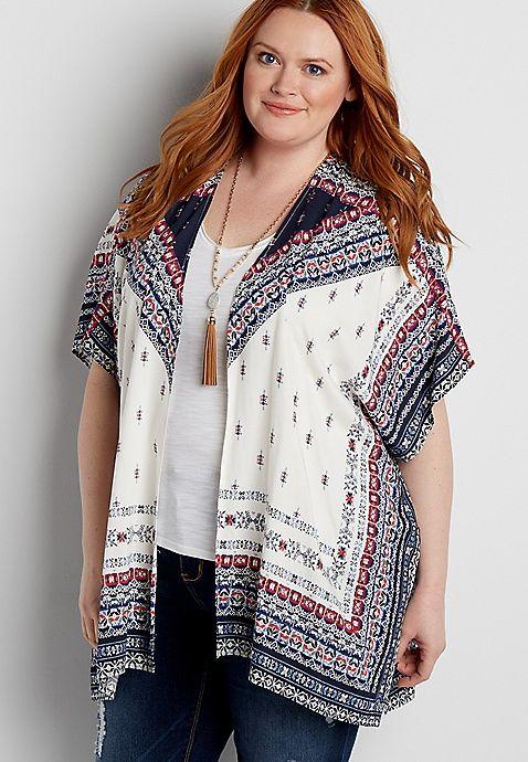 plus size patterned kimono | maurices