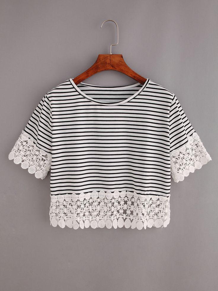 T-shirt+court+à+rayure+avec+dentelle++7.41