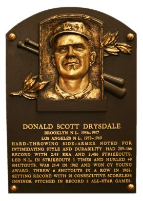 Don Drysdale, RHP, Los Angeles Dodgers, Baseball Hall of Fame