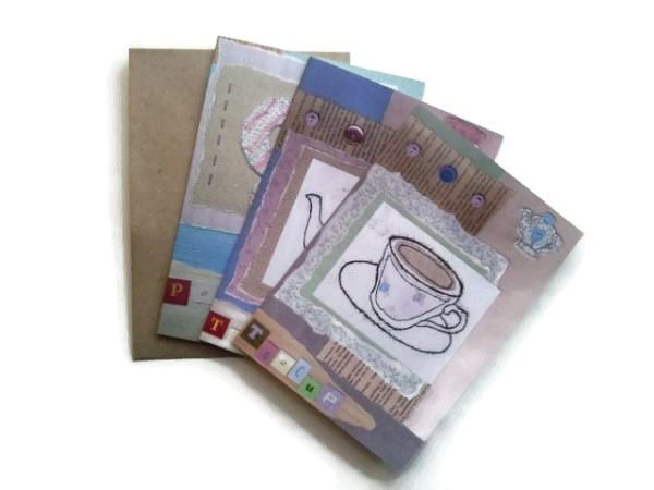 card Set of three tea party greetings cards with FREE UK P&P £6.50