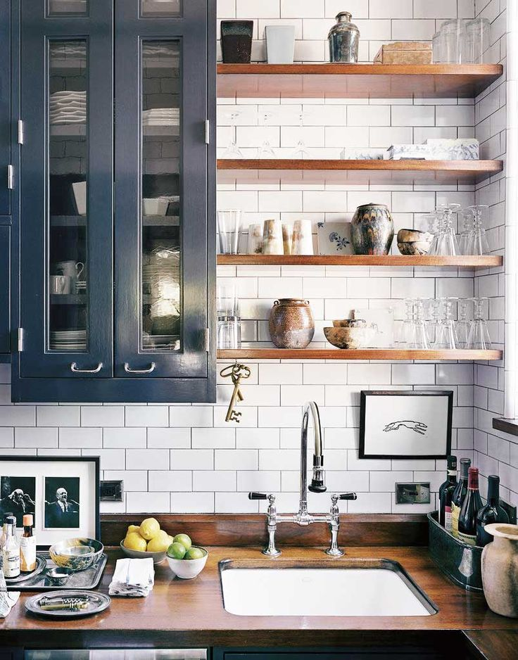 Eclectic kitchen design with gray cabinets and open shelving on Thou Swell @thouswellblog