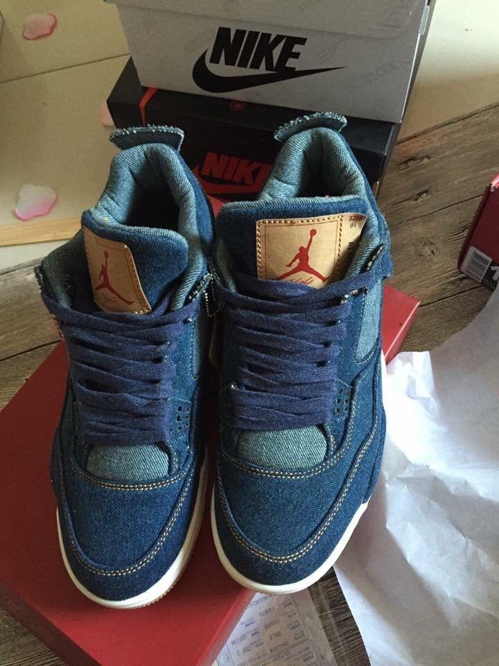 55cb635ce92 Air Jordan 4 X Levis Denim Jeans Retro Sz 11 Limited edition #AirJordan  #AthleticSneakers