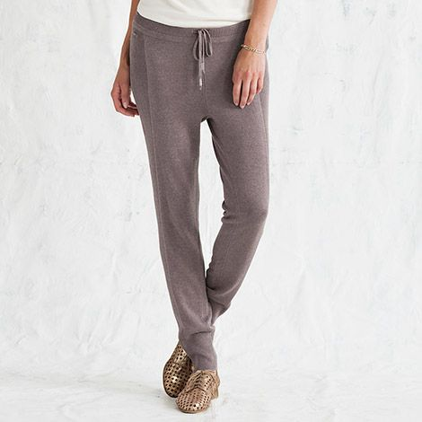 Slip into the sporty sophistication of these drawcord-waist pants for a walking meditation en route to the yoga studio. You'll feel at one with the world in their slim lines and ribbed panels crafted from our Silk Knitwear, a sumptuous blend of silk, cott