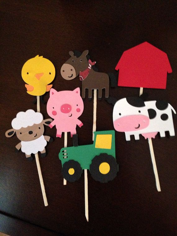Tractor barn Horse cow chick lamb pig farm animals cupcake topper farm barnyard country western bash birthday on Etsy, $12.00