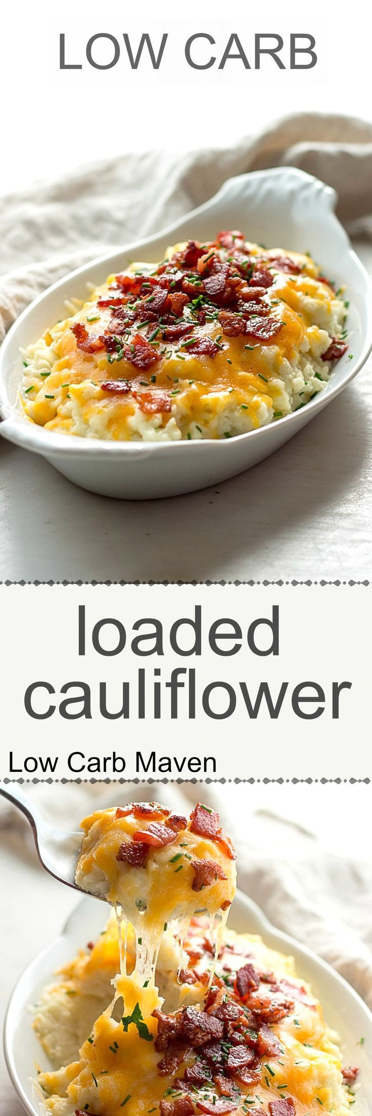 Low carb loaded cauliflower with sour cream, chives, cheddar cheese and bacon. Keto.
