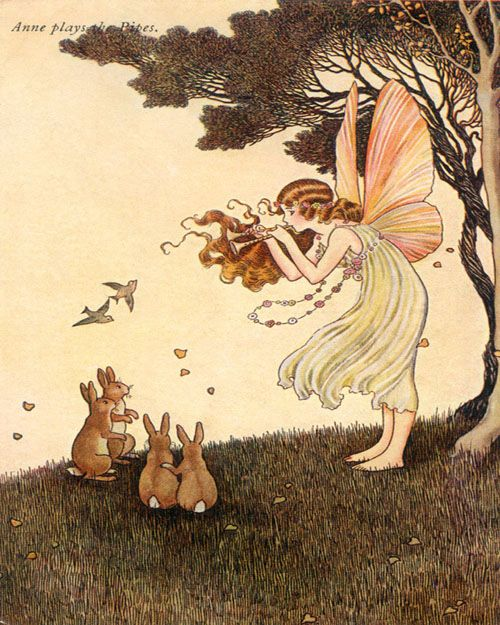 A talented fairy plays her flute for a bunny audience in the forest!