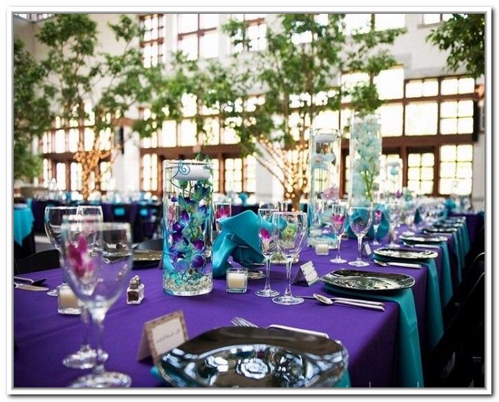 129 best images about wedding teal purple on pinterest - Purple and teal centerpieces ...