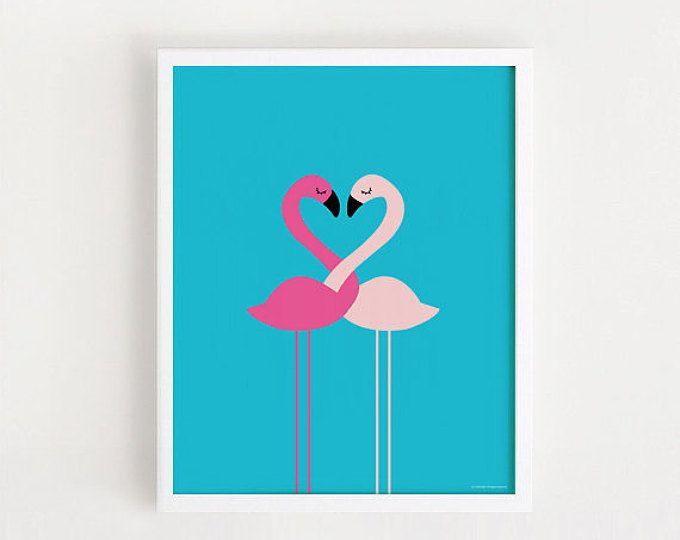 Téléchargement instantané flamant rose amour mignon impression graphique imprimable art bricolage affiche illustration animale Kawaii mariage décor de crèche art 8 x 10