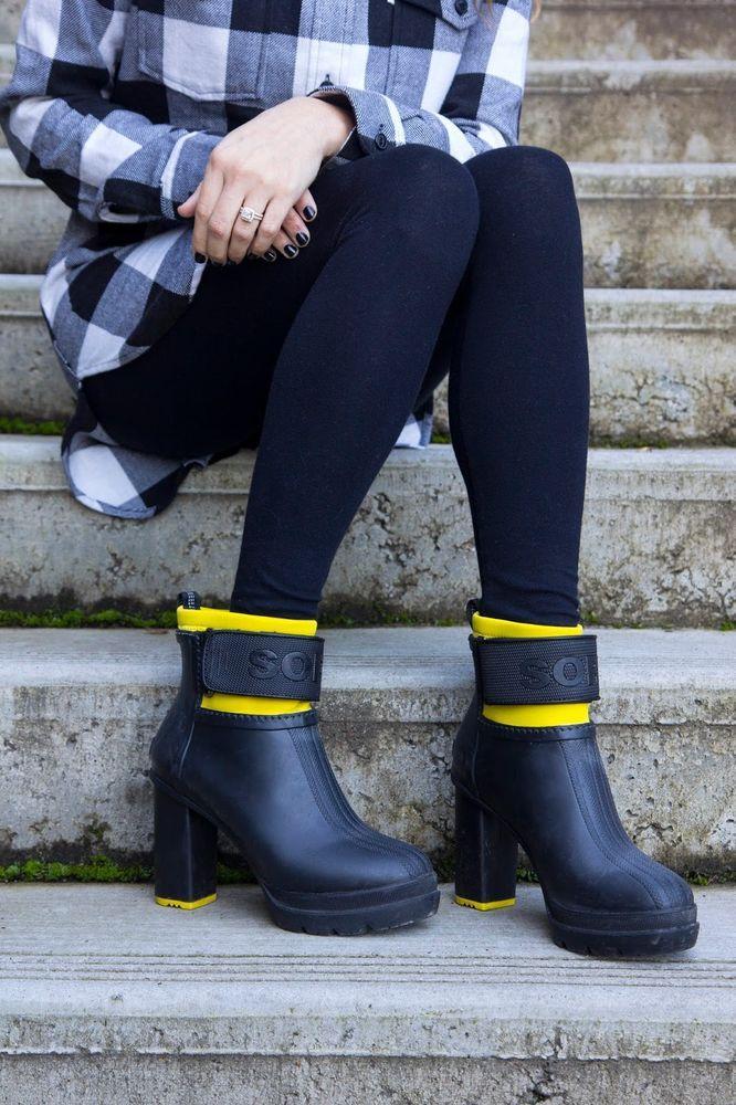 a89ef9e323a SOREL Rain Boots New Medina III Heeled Rubber Ankle Booties Black Yellow  9.5 M  SOREL  Rainboots