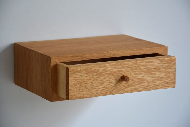 Floating nightstand with drawer, made of oak. Simple and elegant, minimalist with a practical sense. You can order it in any size, select from variety of wood types to make sure it will fit perfectly in your place. www.etsy.com/shop/mybettershelf